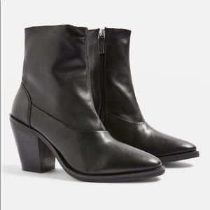 Topshop Black Leather May Sock Ankle Boot